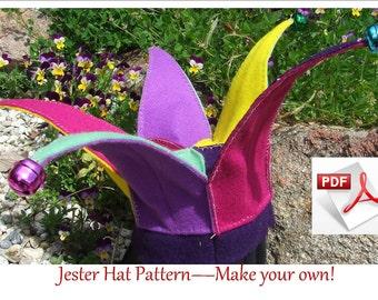 Felt Jester Hat pattern.  Hand sewing PDF pattern.  Fits children 6 to18 months. INSTANT DOWNLOAD.