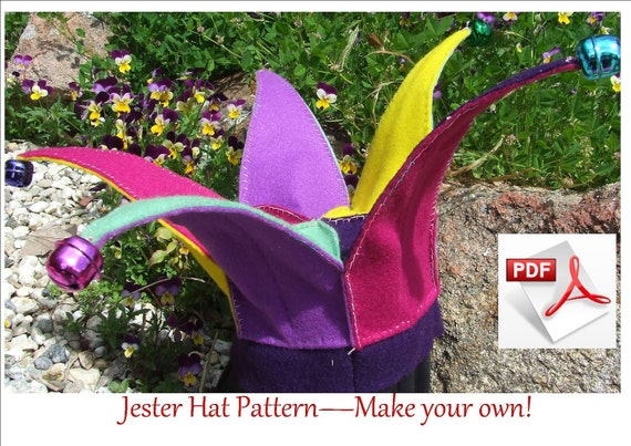 Felt Jester Hat pattern.  Hand sewing PDF pattern.  Fits children 6 to18 months. INSTANT DOWNLOAD.