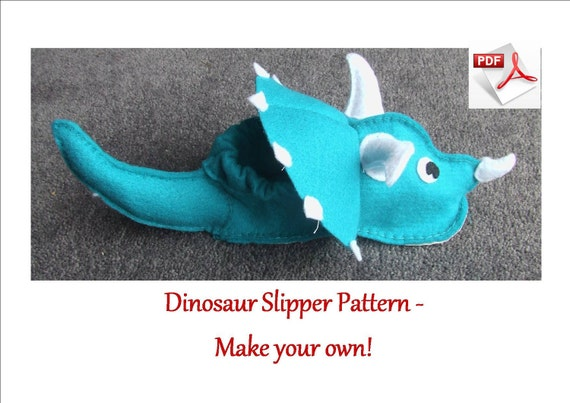 Felt dinosaur slipper pattern.  INSTANT DOWNLOAD sewing pattern for Child's Dinosaur Slippers for ages 1-3 and 4-5.