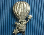 Rare JJ pewter signed hot air balloon brooch pin with star catchers Jonette Jewelry whimsical