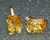 Exquisite Coro signed amber topaz colored earrings with gold plate leaf covers eco-friendly