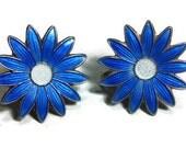 Classic Aksel Holmsen cobalt blue enamel daisy stud earrings set in sterling with white center