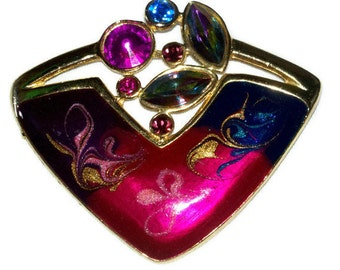 Rhinestone AB crystal brooch with enamel swirls work modernist signed ECD  with in gold tone setting