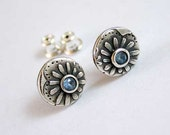 Little blue silver daisy. Artisan handmade, fine silver, precious metal clay earrings. Floral pattern design.
