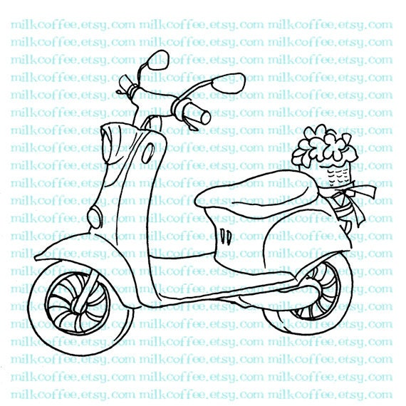 Digital Stamp Scooter with Flower Basket