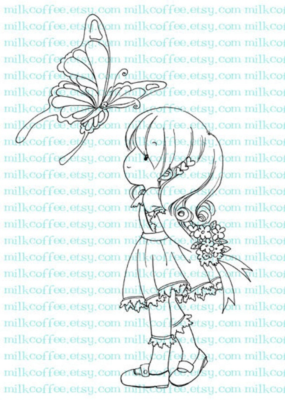 Digital Stamp Charlotte and Butterfly
