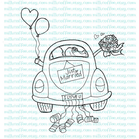 Digital Stamp Just Married Couple at Wedding Car