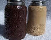 Leather tooled salt and pepper shakers-SALE