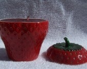 Soy Berry Candle in Vintage Strawberry Lidded Jar