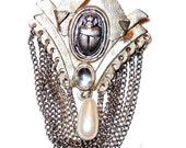 Neo Victorian scarab brooch