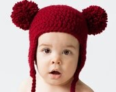 Red Baby Bear Hat, Crochet Earflap Beanie