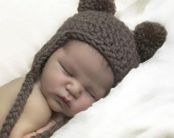 Baby Bear Hat, Newborn Earflap Beanie