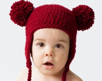 Red Baby Bear Hat, Crochet Earflap Beanie