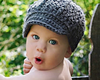 Newsboy Style Crochet Hat, 6 months and up