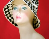 Made in Italy Expressively for Macy's Black and White Checkered Woven Cloche