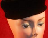 1950's Union Made Black Velvet Pillbox Hat Union Made