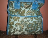 Vintage Avon Carry On Luggage Turquoise and Olive Green - Upholstery - Tapestry Bag