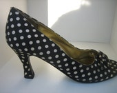 Just Reduced Vintage Peep Toe Heels in Navy with White Polka Dots