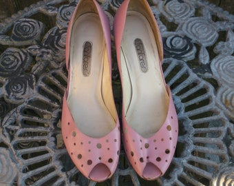 Vintage Pink Leather Upper Fanfares with Peep Toe 8 1/2 under 20