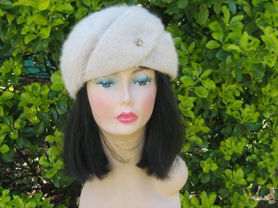 Vintage Taupe Cream Colored Rabbit Fur Gimbels Hat