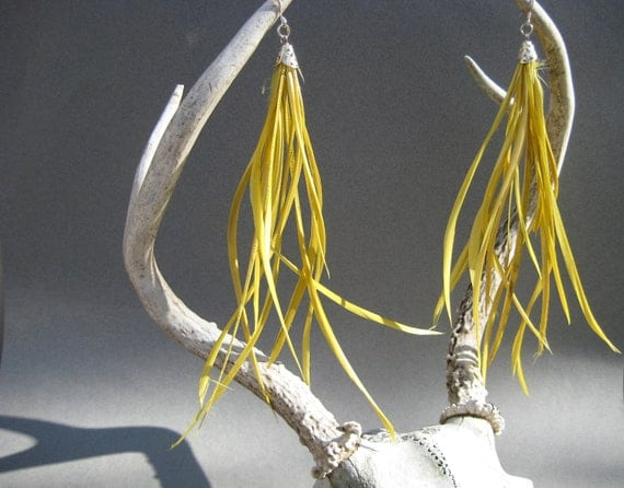 Yellow Feather Earrings- Silver earring hook with long thin feathers