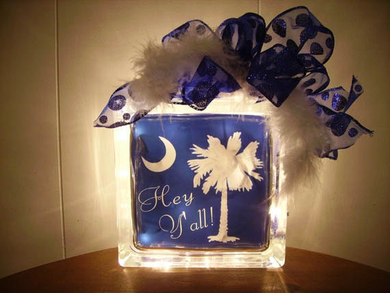 """Lighted glass block -"""" Hey Y'all""""- Palmetto Tree with Crescent moon-lighting, Carolina gifts,home decor,beach decor"""