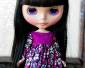 Babydoll dress for Blythe, Momoko, Pullip - magenta and purple