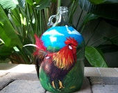 Rooster hand painted wine bottle MADE TO ORDER