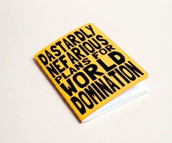 """Handmade notebook """"World domination"""" Yellow"""