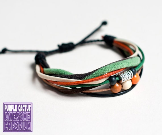 Handmade Retro Bracelet - cord and bead bracelet