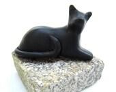 Little black lounging cat sculpture decoration hand made OOAK