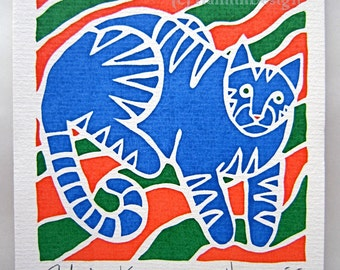 Christmas ORIGINAL limited edition hand screen-printed cat and stripes - signed - one blank greeting card