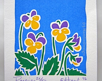 ORIGINAL handmade art Pansies - signed in limited edition - one blank greeting card