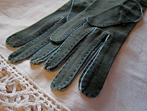 SALE!! Deep green with blue edges long suede leather French Vintage Perrin gloves SMALL