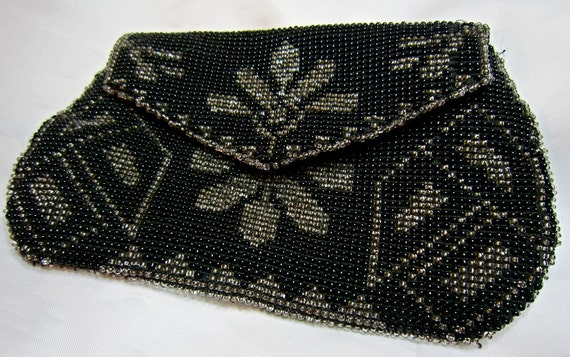 Vintage French Coin Purse beaded woven black and gray floral geometric design