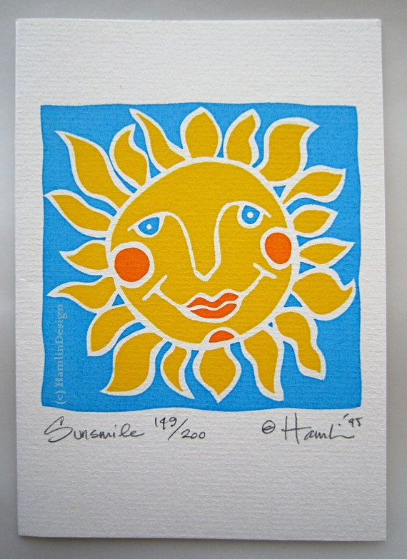 ORIGINAL handmade art Sunsmile - signed in a limited edition - hand screen printed