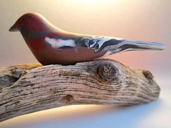 Bird Finch Penkava Pinson handmade sculpture decoration OOAK polymer clay