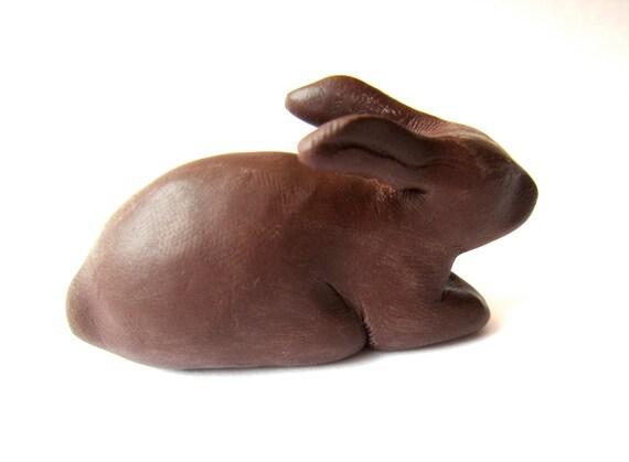 NEEDS LOVING HOME Little brown bunny rabbit handmade sculpture decoration