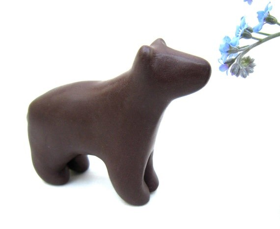 Buzby - little chocolate brown bear sculpture decoration hand made OOAK