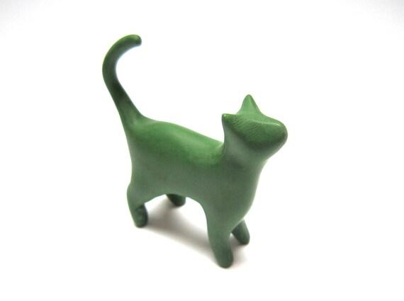 Mossy - cat sculpture moss green decoration hand made OOAK waz-O