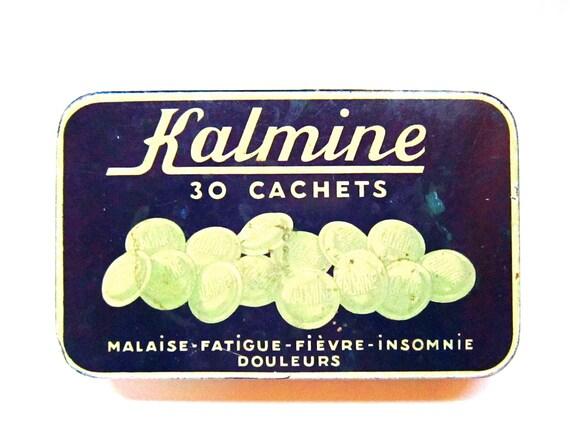 Vintage French medication tin box Kalmine