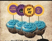 Halloween Printable Cupcake Toppers and Cupcake wrapper