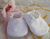 Baby Slip-on Reversible Shoes--White Embroidered--Christening--Baptism--Spring