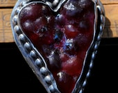 sand cast red glass heart pendent