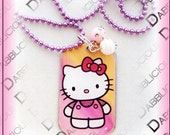 Hello Kitty DOG TAG Necklace W/ BLING Beads