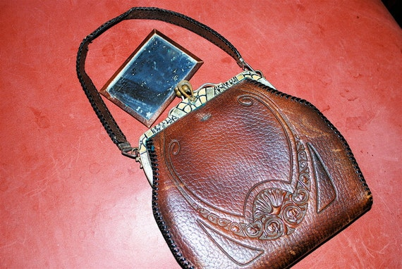 Art Deco or Nouveau 1918 Lotus Design Tooled Leather Bag with Enamel Jemco Frame Turnloc Latch -- SALE 10.00 OFF