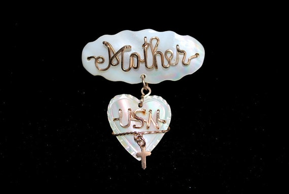 Vintage WWII Mother US Navy Script Brooch Mother-of-Pearl with Gold Wiring and Crucifix
