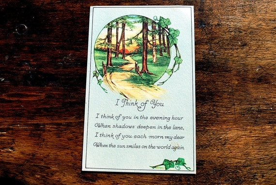 x reserved for Janela x I Think of You in the Evening Hour vintage unused Postcard