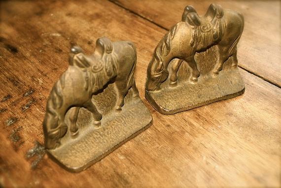 1920s Petite Cast Iron Riderless Horse Bookends