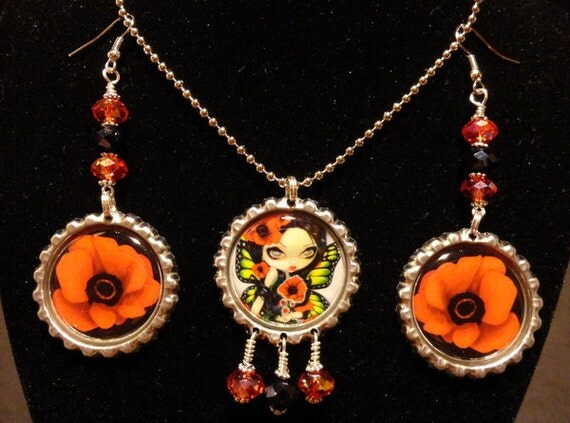 """Jasmine Becket-Griffith  """" Poppy Magic"""" necklace and earrings set"""